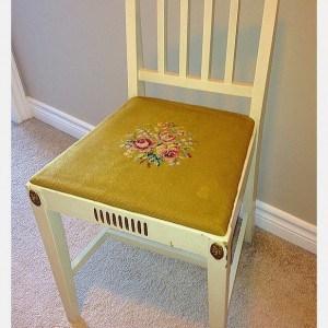 an antique telephone chair before being recreated