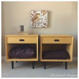 two retro nightstand painted with Annie Sloan chalk paint in Arles