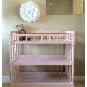 a pink change table painted with Annie Sloan Chalk Paint in Antoinette