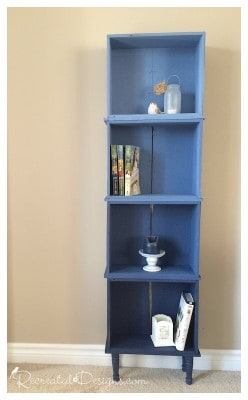 A bookshelf created out of old dresser drawers. Painted and distressed.