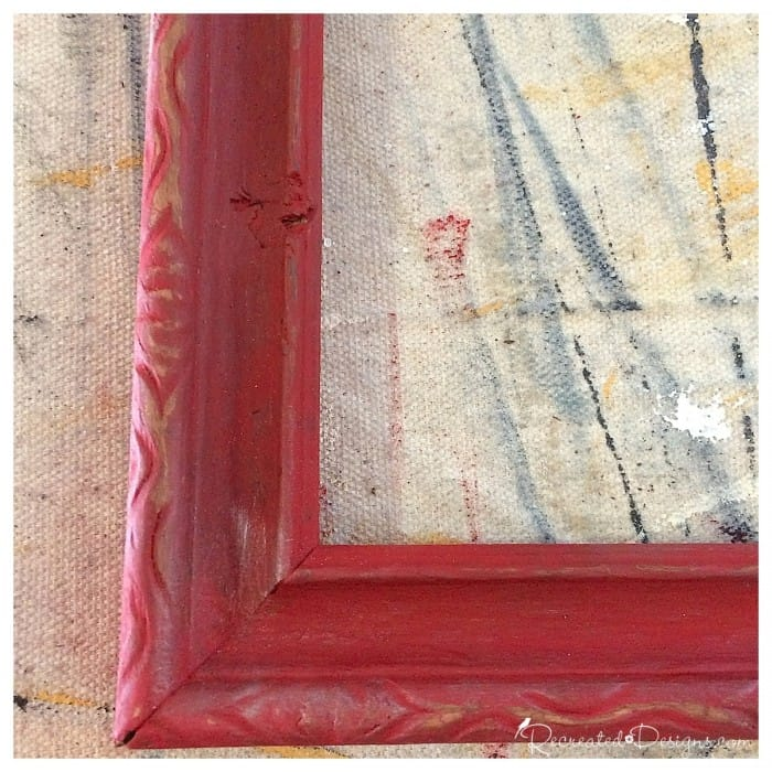 gorgeous details on a vintage frame painted red