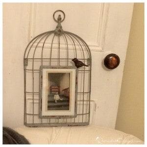 wire bird cage photo frame