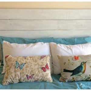 A DIY headboard made out of 6 pine boards