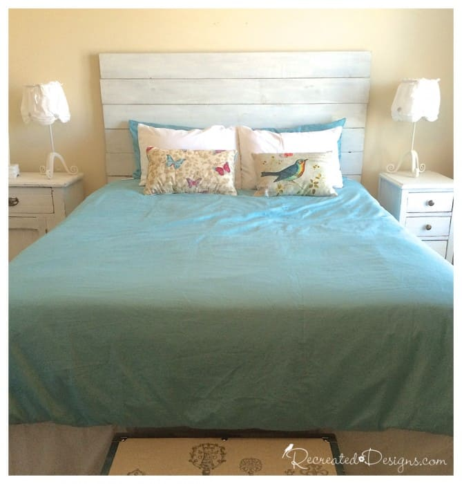 a DIY headboard painted with Miss Mustard seed Milk Paint in Ironstone