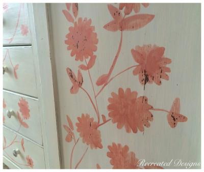 Handpainted Details on Antique Armoire