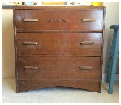 a vintage dresser before being recreated