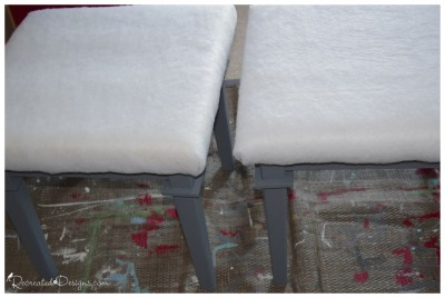 two old coffee tables painted grey with Fairfield World foam and batting