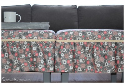 two outdated side tables recreated with fabric and paint