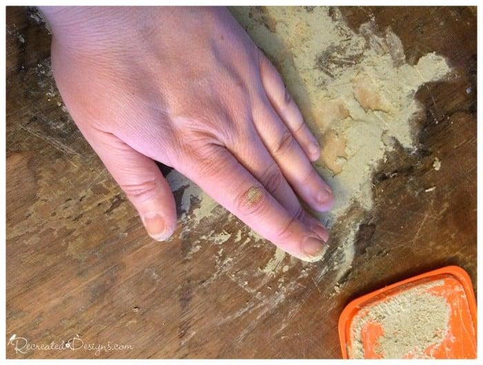 filling in missing veneer with wood filler