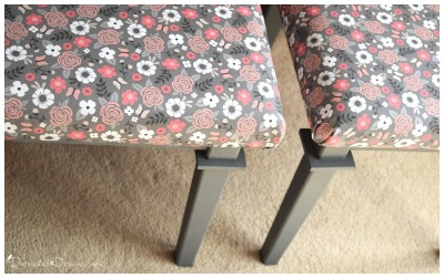 two outdated coffee table painted and covered with Spoonflower fabric
