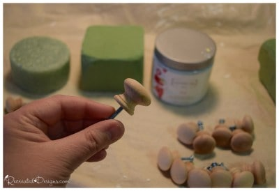 wooden knobs before painting