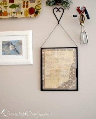 vintage hand written recipe hanging on a wall