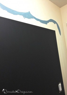 painting a frame around a chalkboard with Fusion Mineral paint in Champness