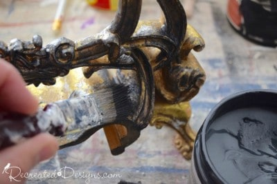 applying Country Chic Metallic Cream over a gold frame