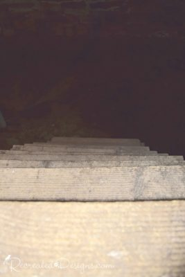 steep set of old wooden stairs