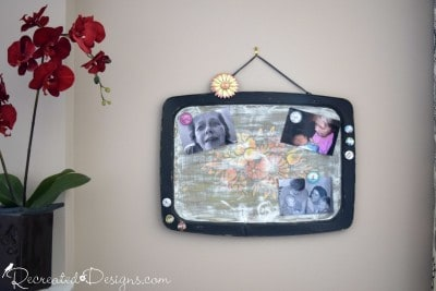 vintage tv tray turned into a magnetic memo board