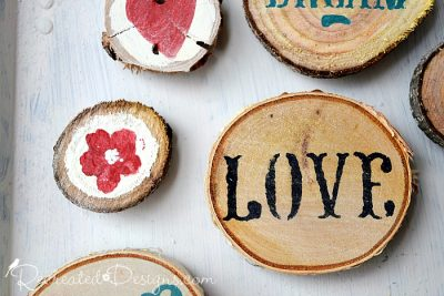 wood slice magnets made by Recreated Designs