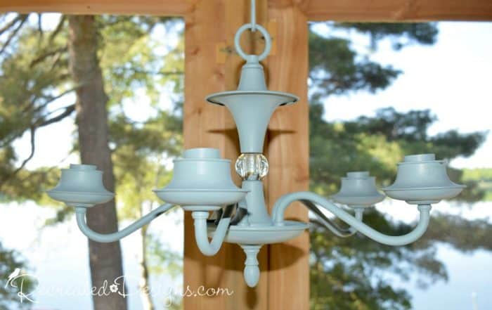 an antique chandelier painted with Fusion Mineral Paint in Heirloom