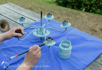painting an old chandelier with Fusion Mineral Paint in Heirloom