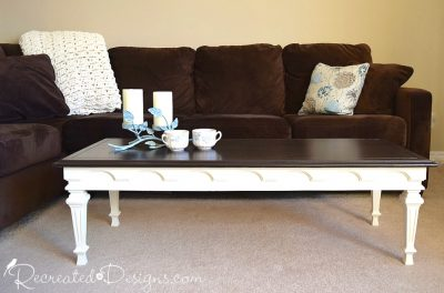 vintage coffee table painted with Country Chic Paint and stained with General Finishes Stain