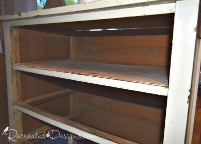 adding a shelf where a broken drawer was removed from a vintage dresser