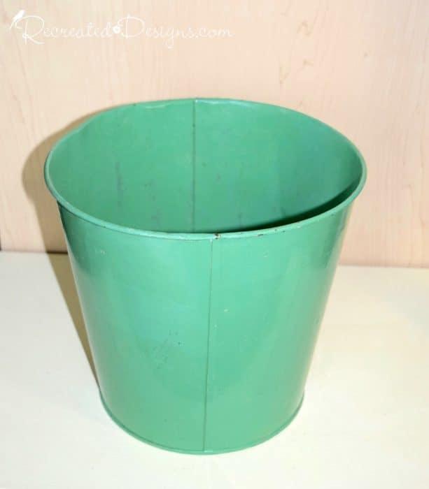 green, metal pail