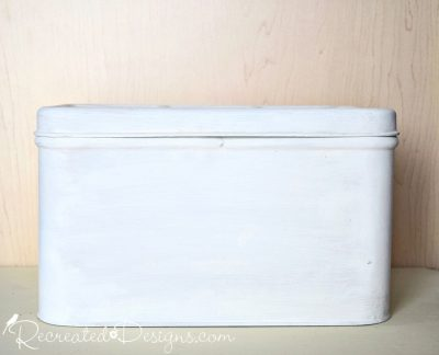 vintage bread box painted white