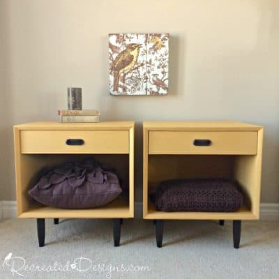 Mid-Century Modern nightstand brought back to life with Annie Sloan Chalk Paint in Arles. www.recreateddesigns.com
