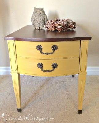 Vintage sie table painted with Miss Mustard Seed Milk Paint in Mustard Seed Yellow and General Finishes Gel Stain