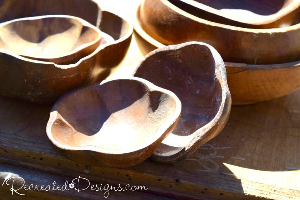 collection of wooden flower bowls