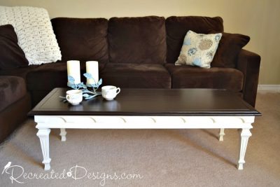 Federal Style Coffee Table with a General Finishes Java Gel Stained top and Country Chic Paint on bottom