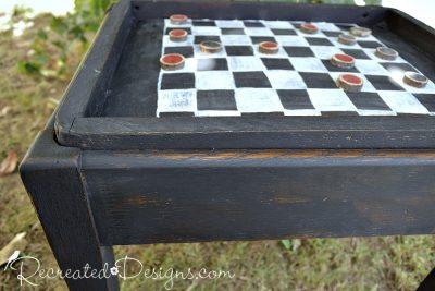 rustic checkerboard table