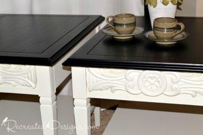 carved wood detail on vintage solid wood side tables