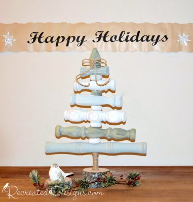 vintage spindle Christmas tree painted with Country Chic paint