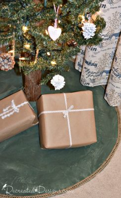 Rustic painted Christmas tree skirt using Country Chic paint in Hollow Hill