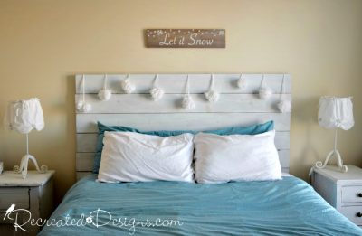 blue and white bedroom with pom pom snowballs