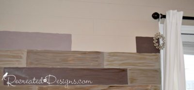 drawing lines and painted faux reclaimed wood