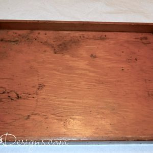 reclaimed wood tray and vintage hardware before cleaning, painting and fixing