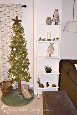 bookshelf made out of drawers and Christmas tree