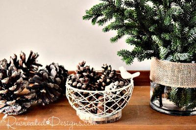 pine cones and greenery ready for the holidays