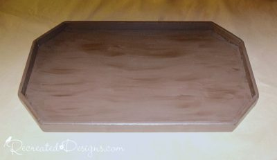 applying Country Chic Paint and Metallic Cream to a found wood tray