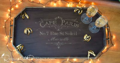 Celebrating with a reclaimed wood serving tray with vintage hardware