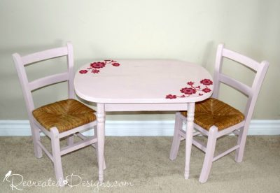 antique table and childrens chairs painted with Annie Sloan Chalk paint in Antoinette