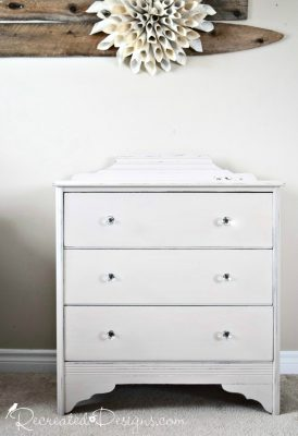 vintage dresser painted with Miss Mustard Seed Milk Paint in Marzipan and new glass knobs