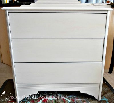 3 coats of Miss Mustard Seed Milk Paint in Marzipan on a vintage dresser
