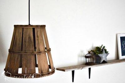 hanging lamp basket and wood shelf