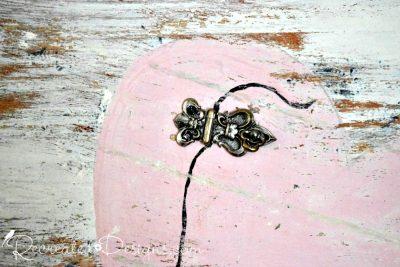 vintage hardware used to make Valentine art