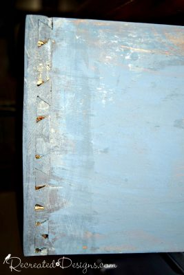 dovetailing on an old drawer painted blue