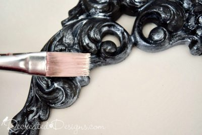 brushing on Fusion Mineral Paint Metallics in Pearl