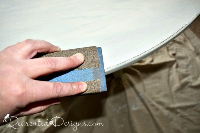 distressing the edges of a table
